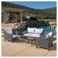 Antibes 5pc Wicker Chat Set with Cushions - Christopher Knight Home