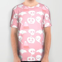 Pink Adorable Halloween Pattern All Over Print Shirt by Adorkible