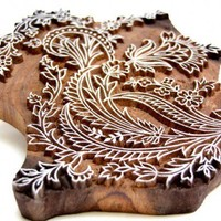 Textile Block Printing Stamp Large Floral Repetitive Design India Wood   catfluff - Craft Supplies on ArtFire