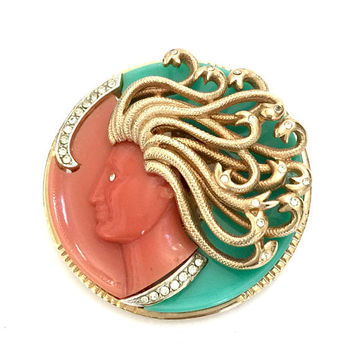 Kramer Medusa Brooch, Coral and Turquoise Resin, Pave Set Ice Rhinestones, Textured Gold Tone Snakes/Hair, Mythology Collection, Unsigned