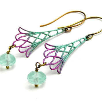 Pastel Dangle Earrings, Metal Filigree Earrings, Turquoise, Mint, Purple, Lavender,Painted Metal Jewelry, Elegant, Handmade Jewelry