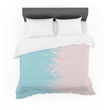 "Project M ""Side Palm Pink And Blue"" Blue Pink Digital Featherweight Duvet Cover"