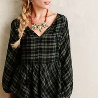 Plaid Peasant Top by Holding Horses Green Motif
