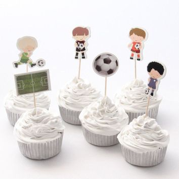 Soccer Sports Cupcake Topper Picks | Soccer Party Decorations | Soccer Party Favors | Soccer Party Theme | Sports Football Birthday Party