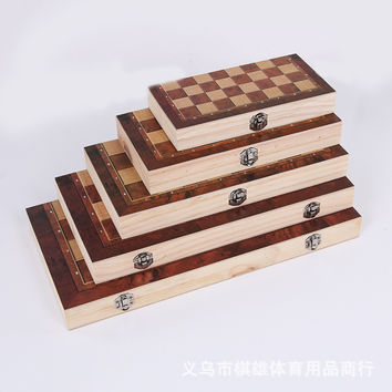 Hot sale! large size 3-in-1 function High Quality Wooden International Chess checkers Set Board Game Foldable Portable Kids Gift