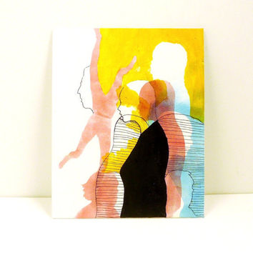 modern abstract painting  //  pop art colorful illustration  //  8x10 canvas, silhouettes, red, blue, yellow, ink drawing