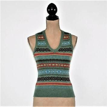 Vintage 80s Sweater Vest Women XS Small Wool Cashmere Stripe Vest Knit Fair Isle Fall