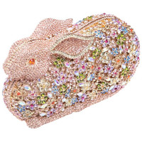 Luxury Bling Daimond 3D Rabbit Rhinestone Clutches Evening Bag