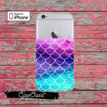 Mermaid Scales Watercolor Pink Mint Tumblr Clear Case iPhone 6 Plus iPhone 6s iPhone 6s Plus iPhone 5 iPhone 5c iPhone SE iPhone 7 + Case