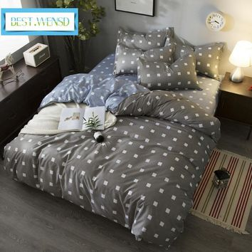 Cool BEST.WENSD Hot High-quality plaid housse de couette comforter bedding set king queen size bed cover+flat bed linen+pillow coverAT_93_12