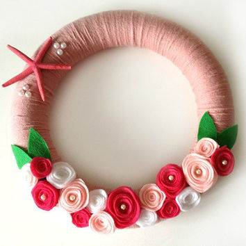 pink starfish summer wreath 12'' in door our out door decor, perfect gift, felt roses and pearls NEW