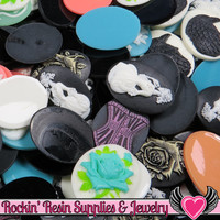 Grade B Resin CAMEOS Bulk 10 piece 30x40mm Grab Bag Decoden Cameo Cabochons