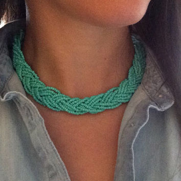 Turquoise Blue Necklace, Statement Necklace, Turquoise Necklace, Braided Necklace, Boho Necklace, Blue Necklace, Handmade Necklace, OOAK