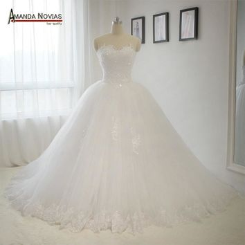 Sweetheart Neckline Bodice Lace Pearls Wedding Dress Puffy Princess Bridal Wedding Dress 2018