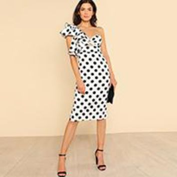 Sexy Party Dresses Backless Asymmetrical   Waist Pencil Dress Twist Front Ruffle Detail Polka Dot Dress