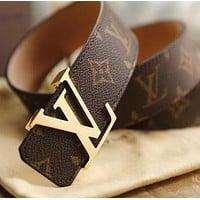 Louis Vuitton LV Fashion Women Men Smooth Buckle Leather Belt