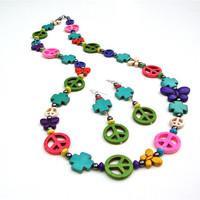 Long colorful peace sign necklace - colored stone necklace - multi-colored peace sign and butterfly necklace by Sparkle City Jewelry