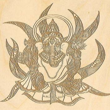 Ganesha Hindu Mandala Wood Engraved Canvas Panel Unique Present 5th Wood Anniversary Gift Decorative Religious Sign 007