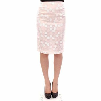 Koonhor White Sequined Straight Pencil Skirt
