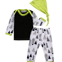 baby boy clothing sets Newborn Infant Baby Boys Tops T-shirt Pants Legging Hat  3pcs suit baby girl clothes