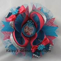 "5"" OTT Frozen boutique bow- Disney Frozen bow- Anna Elsa hair bow"