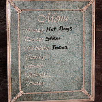 DRY ERASE Menu Board Vintage Metal Frame Cream Turquoise Paisley Distressed Chippy Ornate Rustic Western Ranch Lodge Shabby Chic Cottage
