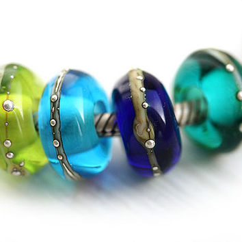 Lampwork Large hole beads Ocean Hues - teal, blue, green - handmade glass beads for European Charm Bracelets - SRA, by MayaHoney