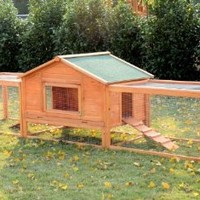 Pawhut Wooden Rabbit Hutch with 2 Runs, 122""
