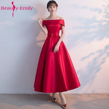 Beauty-Emily Long Prom Dresses 2017 A-Line Red Prom Dress Gown Formal homecoming Dresses Party Gowns Vestido De Festa Curto
