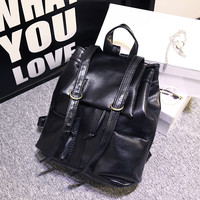 Black Leather Style Large Capacity Vintage Travel Bag Backpack