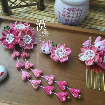 hand made hairpin cotton cloth hair clip barrettes Japanese kimono anime cosplay accessories sakura bunny pink