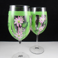 Pink Daisy Wine Glasses Hand Painted Flowers Set of 2