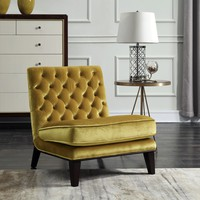 Achilles Modern Neo Traditional Tufted Velvet Slipper Accent Chair, Cognac