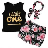 "Girl's Sleeveless ""Wild One"" Floral 3pc Outfit"