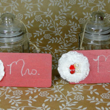 Chalkboard Signs Wood Set of 2 Red and Ivory With Rhinestone and Pearl Rose Embellishment Vintage Inspired Mr & Mrs Wedding Sign
