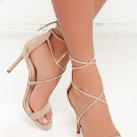 LULUS Romy Taupe Lace-Up Heels