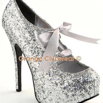 "BORDELLO Sexy Silver Glitter Platform Ribbons 5 3/4"" High Heels Pumps Shoes"