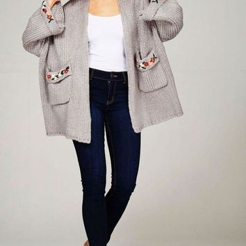 Prim Hand Embroidered Chunky Cardigan -