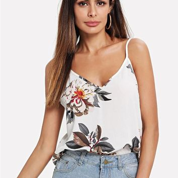SHEIN Beige Vacation Sexy Backless Boho Bohemian Beach Double V-Neck Floral Print Cami Top Summer Women Casual Vest