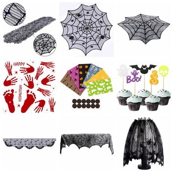 OurWarm Halloween Decoration for Home Product Collection Lace Table Runner  Favor Candy Bags Table Topper Party Supplies