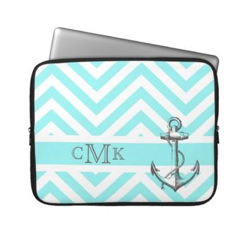 Triple Monogrammed Anchor & Blue Zigzags Laptop Computer Sleeve