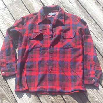 Mens VTG 50s Pendleton Wool Plaid Flannel Shirt Top Loop Flap Pockets