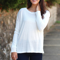 Our Time Basic Light Knit Sweater {Off White}