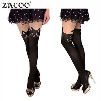ZACOO Women 2017 fashion Tights Cotton Silk Stockings Pantyhose Cat Rabbit Girl Sexy Slim Cats Lovely Female Tight stockings z25