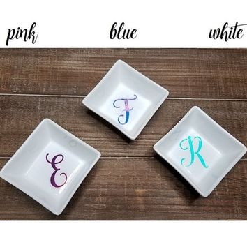 Personalized Wedding Gift - Monogram Square Wedding Ring Tray Porcelain Ceramic White Wedding Bands Holder with Decal
