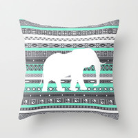 Tiffany Aztec White Elephant Pattern Design Throw Pillow by RexLambo | Society6