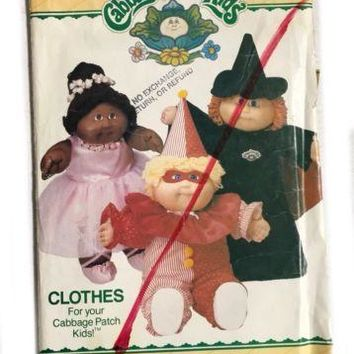 Vintage Butterick 6935 Cabbage Patch Kids Doll Sewing Pattern Costume Clothes