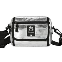 MLB Tide brand female models glossy chest bag Messenger bag silver