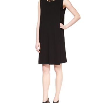 Women's Sleeveless Faux-Wrap Jersey Dress, Petite - Eileen Fisher