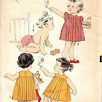 Retro 1950s Advance Sewing Pattern 8902 Toddler Baby Girl Dress Pleated Front Back Panties High Yoke Play Party Dress Size 3